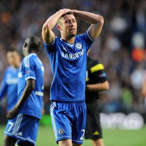 Chelsea's Gary Cahill looks dejected after receiving a yellow card during the UEFA Champions League match at Stamford Bridge, London. PRESS ASSOCIATION Photo. Picture date: Wednesday April 30, 2014. See PA story SOCCER Chelsea. Photo credit should read: Andrew Matthews/PA Wire