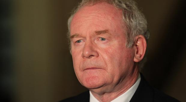 Deputy First Minister Martin McGuinness reacting to Sinn Féin leader Gerry Adams being questioned by Northern Ireland police in connection with the 1972 murder of widow and mother-of-10 Jean McConville. Picture by Brian Little/Presseye