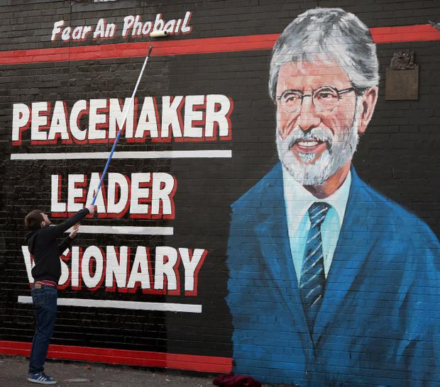 A mural of Sinn Fein Leader Gerry Adams is painted on a wall on the Falls Road, Belfast as police are granted a further 48 hours to question him about the murder of mother-of-10 Jean McConville.