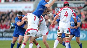 Rabo Pro12: Ulster v Leinster at Ravenhill. Ulster's Tom Court and Iain Henderson tackle Leinster's Devin Toner