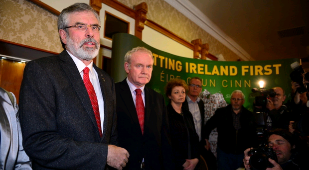 Sinn Fein leader Gerry Adams during a press conference at Balmoral Hotel after he was released from Antrim PSNI Station without charge