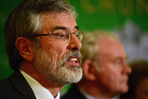Sinn Fein Leader Gerry Adams speaks during a press conference at Balmoral Hotel after he was released from Antrim PSNI Station without charge following questioning over the Jean McConville murder, on May 4, 2014 in Belfast, Northern Ireland (Photo by Jeff J Mitchell/Getty Images)
