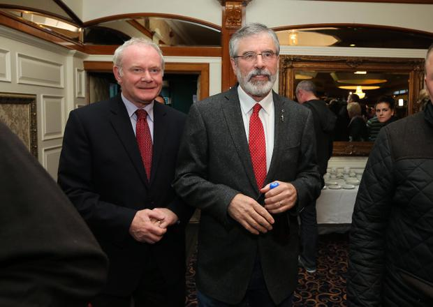 Sinn Fein leader Gerry Adams pictured at a press conference in the Balmoral Hotel in west Belfast shortly after being released from custody last weekend
