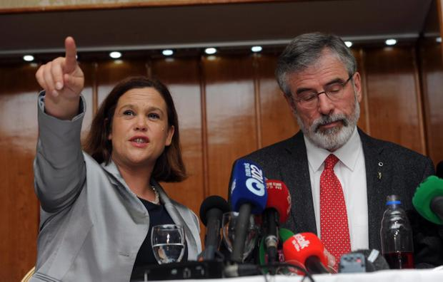PACEMAKER BELFAST 04/05/2014 Sinn Fein Leader Gerry Adams and Deputy leader Mary Lou McDonald speaks at a press conference at the Balmoral Hotel in West Belfast this evening. Adams was released this evening after 4 days of questioning by the PSNI in relation to the murder of Jean McConville in 1972. Photo Colm Lenaghan/Pacemaker Press