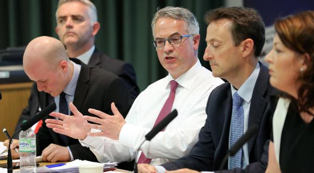 Alex Attwood (centre) along with fellow European election candidates and others during a debate last week
