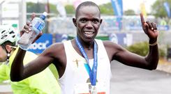 Freddy Sittuk from Kenya wins the Belfast City Marathon. Pic David Fitzgerald