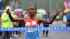 Bayush Abebe Shiferaw - the fastest woman at this year's Belfast Marathon. Pic Declan Roughan / Presseye