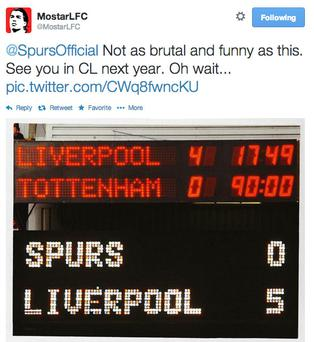 Liverpool fans were quick to respond to the Tottenham tweet