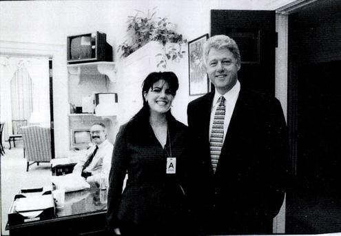 Monica Lewinsky meeting President Bill Clinton at a White House function submitted as evidence in documents by the Starr investigation and released by the House Judicary committee September 21, 1998.