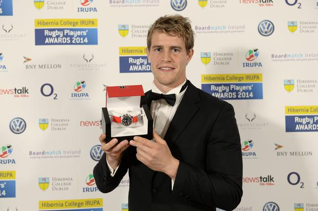 7 May 2014; Ulster and Ireland winger Andrew Trimble poses with the 2014 Hibernia College IRUPA Players Player of the Year award
