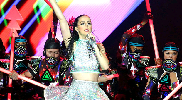 Katy Perry performing in the Odyssey Arena, Belfast last night
