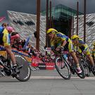 Tinkoff-Saxo's Nicolas Roche leads his team at the start of the 97th Giro d'Italia at Titanic Belfast which began with a 21.7 km team time trial around the city streets