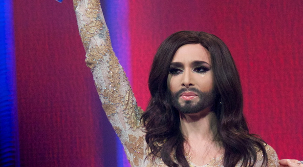 Conchita Wurst of Austria wins the Eurovision Song Contest 2014 on May 10, 2014 in Copenhagen, Denmark. (Photo by Ragnar Singsaas/Getty Images)