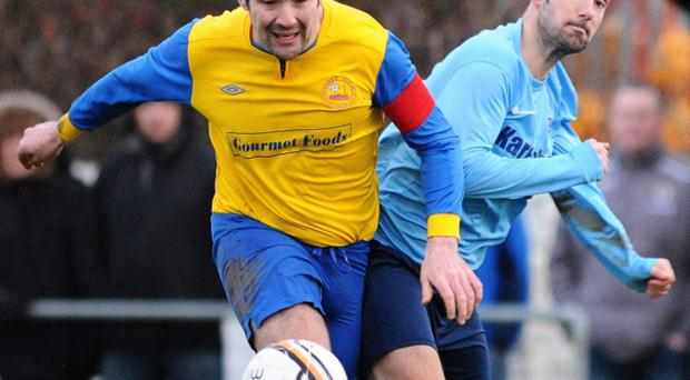 Action from Ards Rangers v Drumaness Mills in Amateur League Premier Division in December 2013