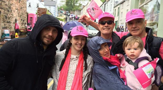 From left to right (front): Scott and Nuala McGregor (from Glasgow), Bronagh McQuillan and Eimear McGregor (child) Left to right (behind): Peter Geoghegan and PJ McQuillan Location: Beside the Curfew Tower, Cushendall, Co Antrim