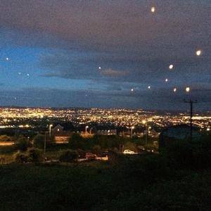 Lanterns were released across Belfast to remember Oscar Knox. Pic Twitter