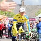 Home sweet home: Ireland's Nicolas Roche gets a warm reception in Armagh yesterday