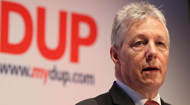 DUP Leader Peter Robinson speaking at the Launch of his Party's European and local council election manifesto in Belfast. PRESS ASSOCIATION Photo. Picture date: Tuesday May 6, 2014. Photo credit should read: Niall Carson/PA Wire