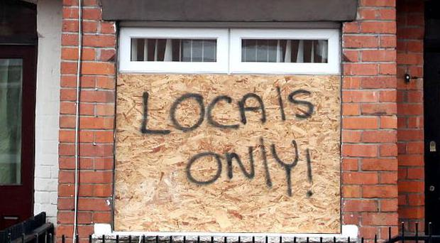Three arrested in connection with hate crimes across Belfast. Pictured: one house in the east of the city targeted earlier this month