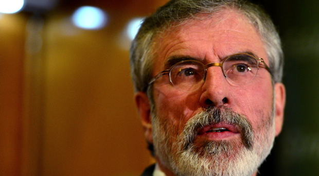 Sinn Fein Leader Gerry Adams pictured during a press conference at Balmoral Hotel