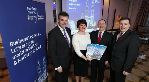 Enterprise, Trade and Investment Minister Arlene Foster launches the Business Ambassadors Programme with (l-r) Alastair Hamilton, CEO, Invest Northern Ireland; Gerry Lennon, Chief Executive, Visit Belfast and Alan Clarke, Chief Executive, NITB.