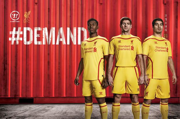 Daniel Sturridge, Steven Gerrard and Luis Suarez model the new Liverpool away kit