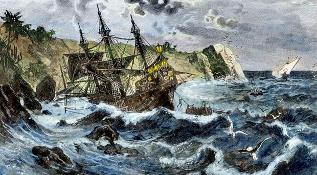 The wreck of the 'Santa Maria', as envisaged in 1492