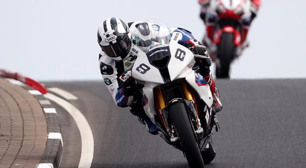 Left trailing: Michael Dunlop proves too hard to catch during yesterday's North West 200 Superbike practice