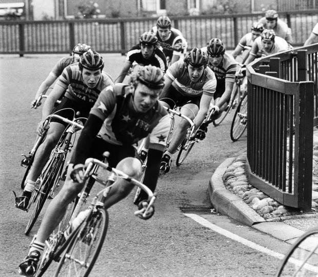 Riders sweep round a tight left-hander on the Donaghadee Road, at Newtownards, during the Irish senior cycling road race championship. 5/7/1986