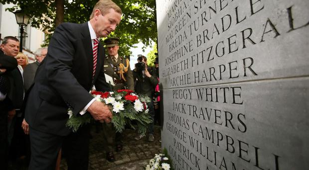 Taoiseach Enda Kenny attends a wreath laying ceremony to mark the 40th anniversary of the Dublin and Monaghan bombings.Pic Brian Lawless/PA Wire