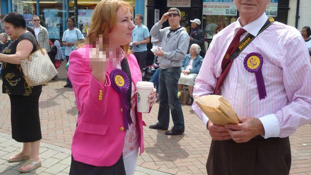 The image that has now gone viral: Ukip chairwoman Janice Atkinson. Pic Twitter
