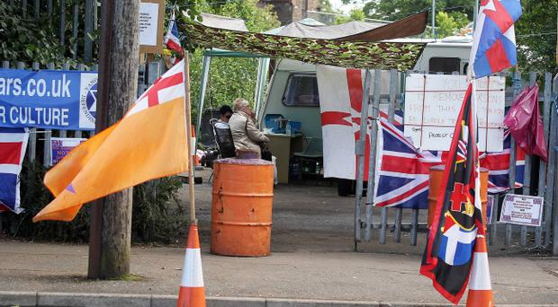 The loyalist protest camp in the Woodvale area of north Belfast. Pic Jonathan Porter