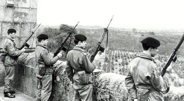 British Army soldiers keep an eye out at Gosford Castle, Co Armagh, in May, 1971