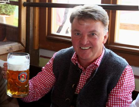 The Beer Connoisseur: Head coach Louis van Gaal of Bayern Muenchen attends the Oktoberfest beer festival at the Kaefer Wiesnschaenke tent on October 4, 2009 in Munich, Germany. (Photo by Alexander Hassenstein/Bongarts/Getty Images)