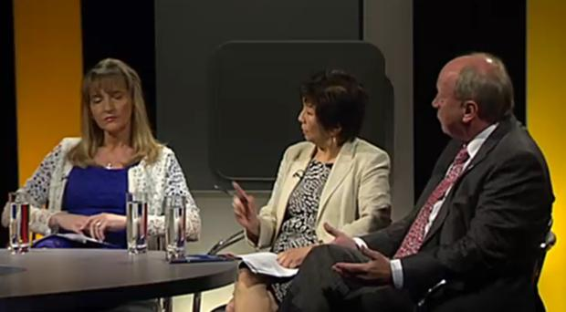 Northern Ireland's Euro election candidates in the Ulster Television studios for a live debate. Martina Anderson (Sinn Fein) Anna Lo (Alliance) & Jim Allister (TUV). Still image: UTV