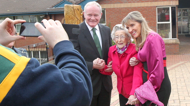 Martina Anderson European MEP candidate with NI Deputy First Minister Martin McGuinness and Ida Crossan, who is in her 100th year and was voting at St Johns Primary School in Derry on Thursday morning. Picture Margaret McLaughlin
