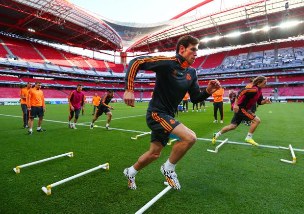 Ready to rule: Gareth Bale and his Real Madrid team-mates train in Lisbon's Stadium of Light ahead of tonight's Champions League final with Atletico Madrid, who hope to stop their cross-city neighbours winning 'La Decima'