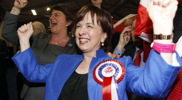 DUP's Diane Dodds celebrating her re-election