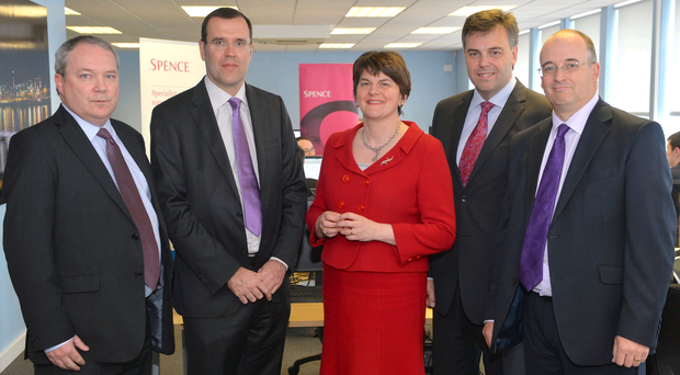 Neil Copeland and Brian Spence, Spence & Partners, Enterprise Minister Arlene Foster, Alastair Hamilton Chief Executive Invest NI, David Davison, Spence & Partners. Photo Aaron McCracken/Harrisons