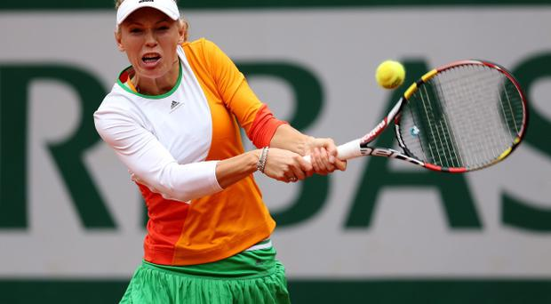 PARIS, FRANCE - MAY 27: Caroline Wozniacki on her to defeat at the French Open. (Photo by Matthew Stockman/Getty Images)