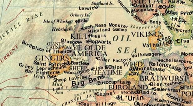 The UK and Ireland on Martin Vargic's map of the world in stereotypes 2014