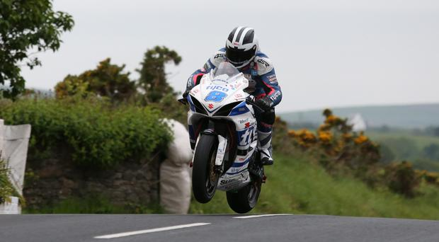 Top man: Michael Dunlop headed the practice times in the Supersport class last night