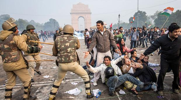 Delhi police lathi charge to disperse protestors during a protest against the Indian governments reaction to rape incidents in India, in 2012 in New Delhi, India.