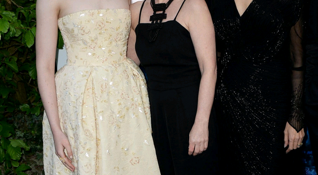 Lesley with co-stars Elle Fanning and Angelina Jolie at the premiere