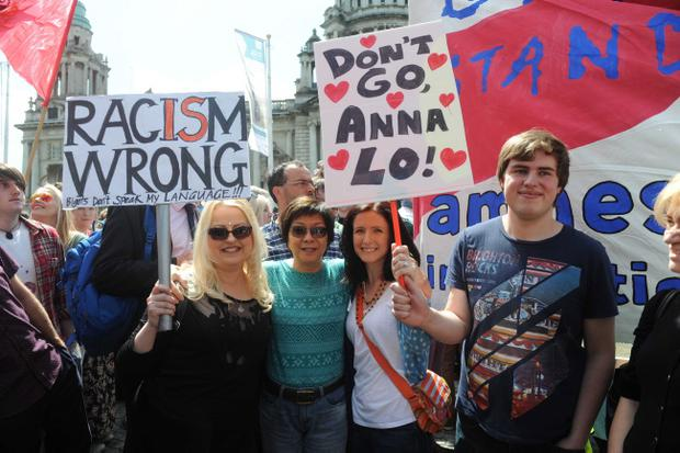 Alliance MLA Anna Lo among thousands of people attending an anti-racism rally at Belfast City Hall on Saturday after recent comments made about the Islamic faith. Pic Colm Lenaghan/Pacemaker