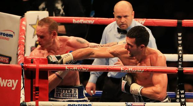 Goodnight George: Froch's righthand punch ends his world title fight with Groves at Wembley