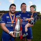 Glory boys: Leinster's Martin Moore and Mike Ross celebrate
