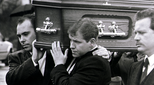 The funeral of Sean McParland, who died in February 1994