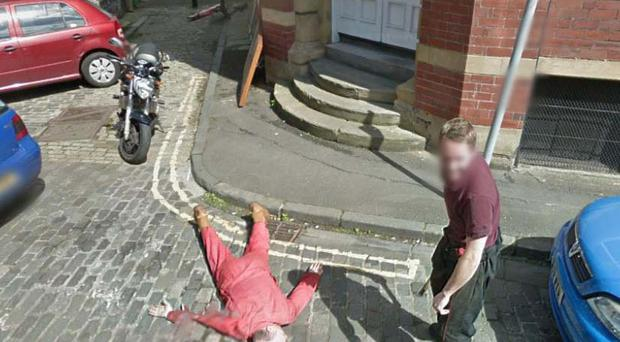 Two men captured on Google Street View in Edinburgh...one looking a little worse off than the other