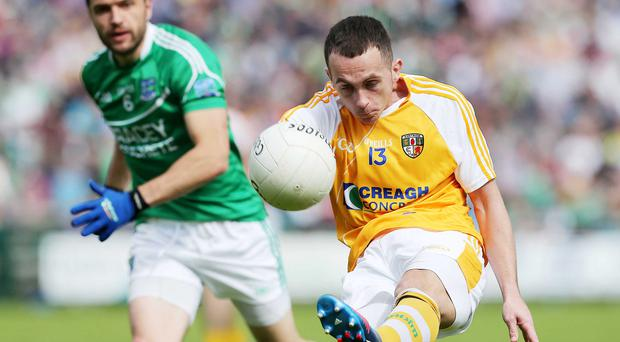 Putting the boot in: Controlling Brian Neeson on Sunday proved impossible for a host of Fermanagh stars